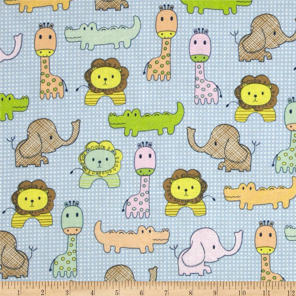 The new kids on the block zoo animals gingham blue for Designer animal print fabric