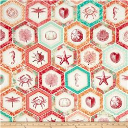 By The Sea Hexagon Tiles Coral Red