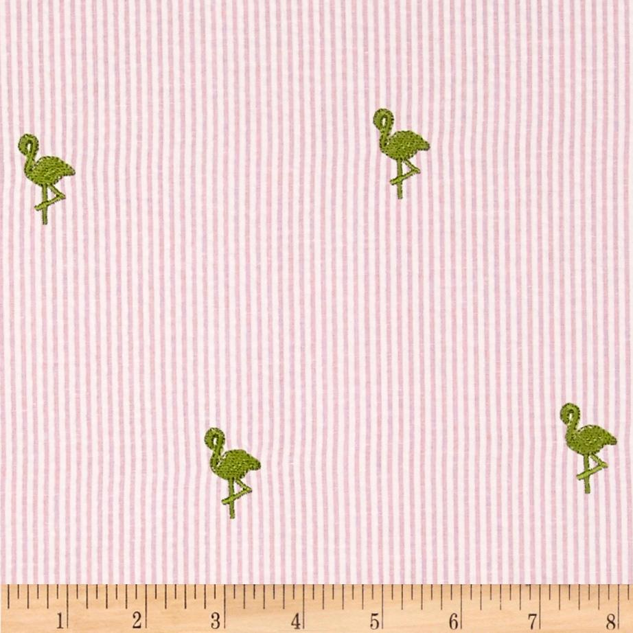Embroidered Seersucker Pink/White Flamingo Lime
