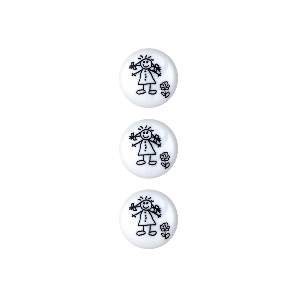 Dill Novelty Button 5/8'' Children's Drawing White