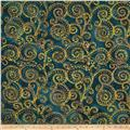 Textile Creations Embroidered Rayon Batik Swirl Gold/Navy