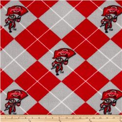 Collegiate Fleece Ohio State University Argyle Red Fabric