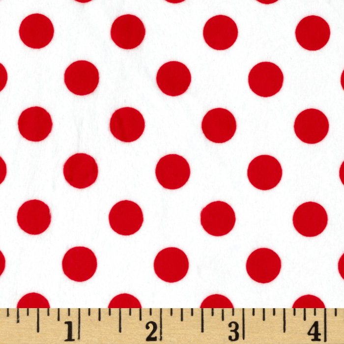 Minky Minnie Dots White/Red Fabric