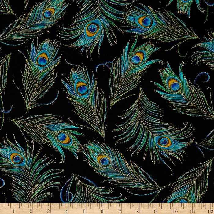 Timeless Treasures Enchanted Plume Metallic Peacock Feathers