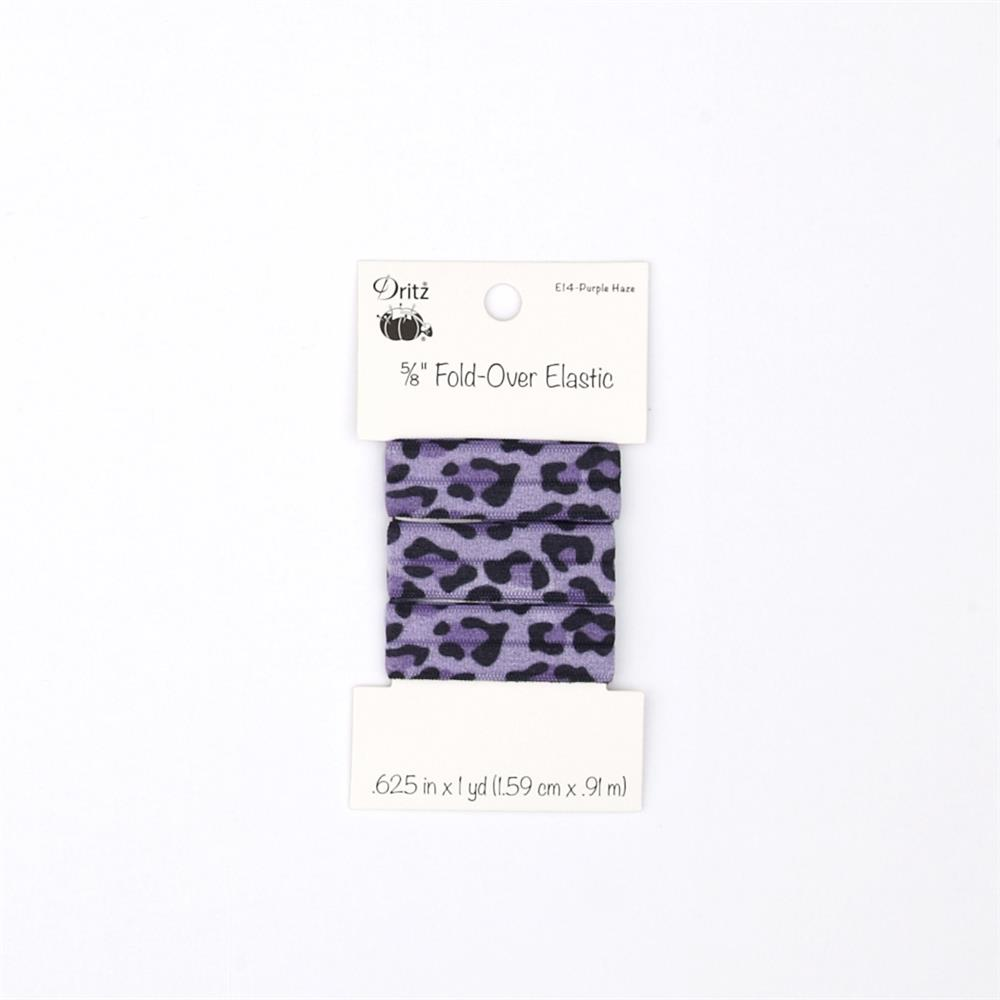 "Leopard Fold Over Elastic 5/8"" X 1 yd Purple Haze"