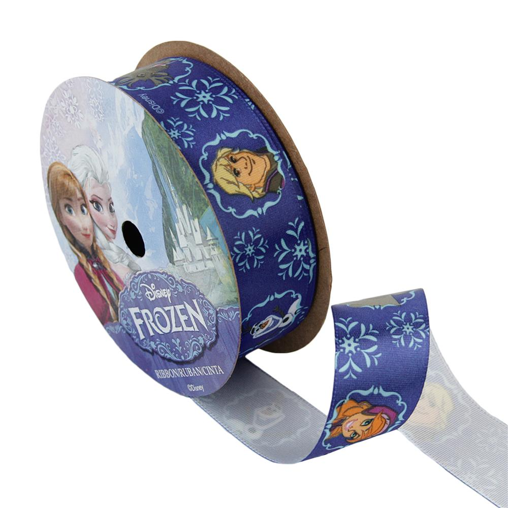 7/8'' Frozen Ribbon Royal Characters Dark Blue 3YD Spool