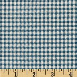 Small Check Ivory/Cerulean Blue Fabric