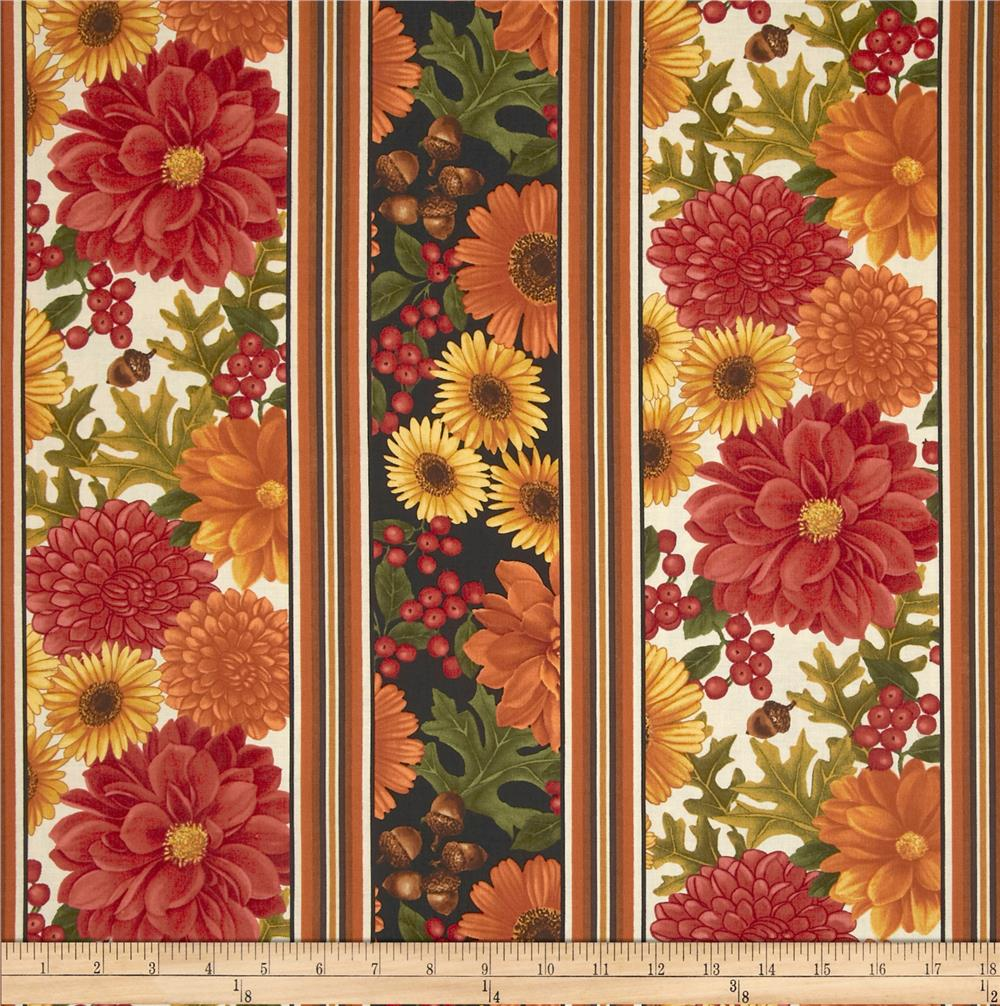 Pumpkin Spice Fall Border Stripe Cream