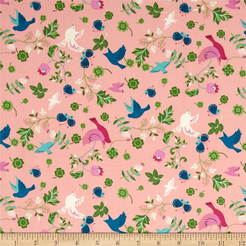 Seven Islands Birds & Butterflies Pink