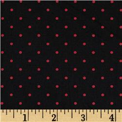 Stretch Poplin Dots Black/Red