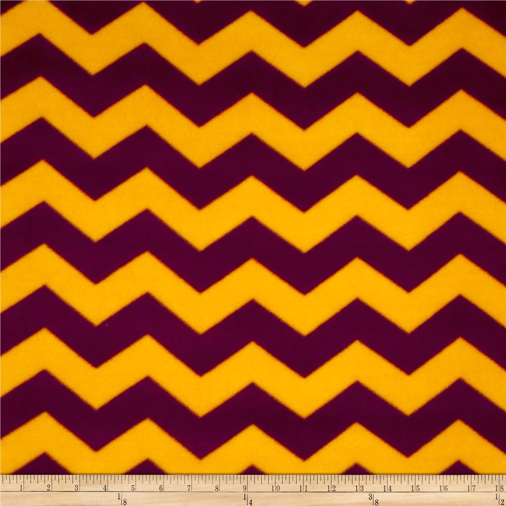 Chevron Fleece Burgundy/Gold