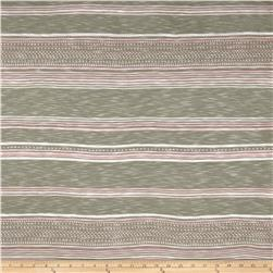 Designer Rayon Slub Jersey Knit Stripes Sage Fabric