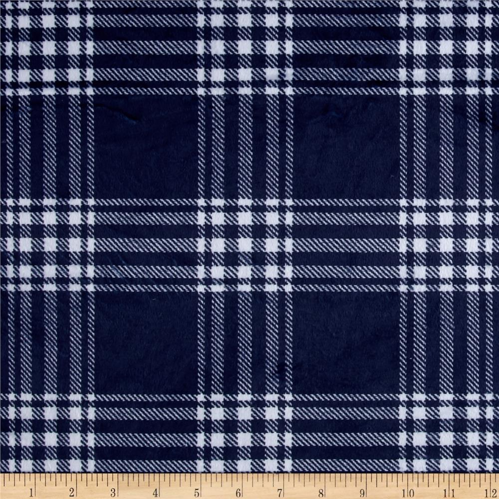 Minky Treas Plaid Navy