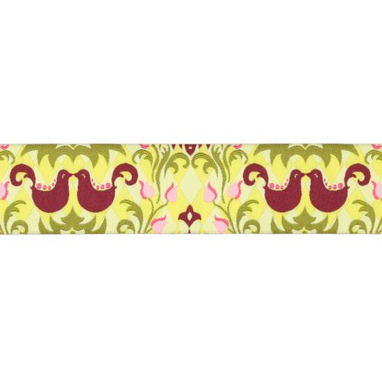 1 1/2'' Ribbon Birdie Damask Kiwi