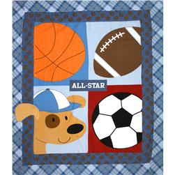Little Allstar Flannel Quilt Top Panel Blue Fabric