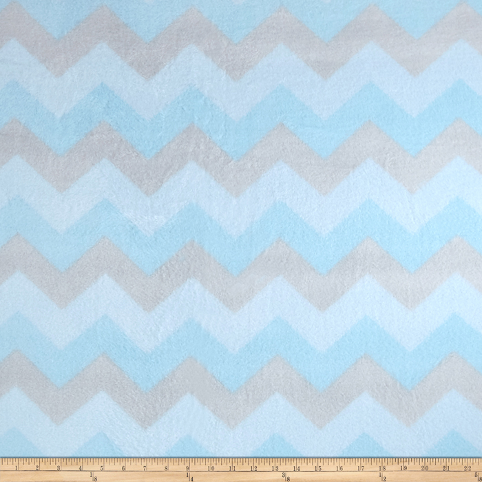 Winterfleece Chevron Blue Fabric