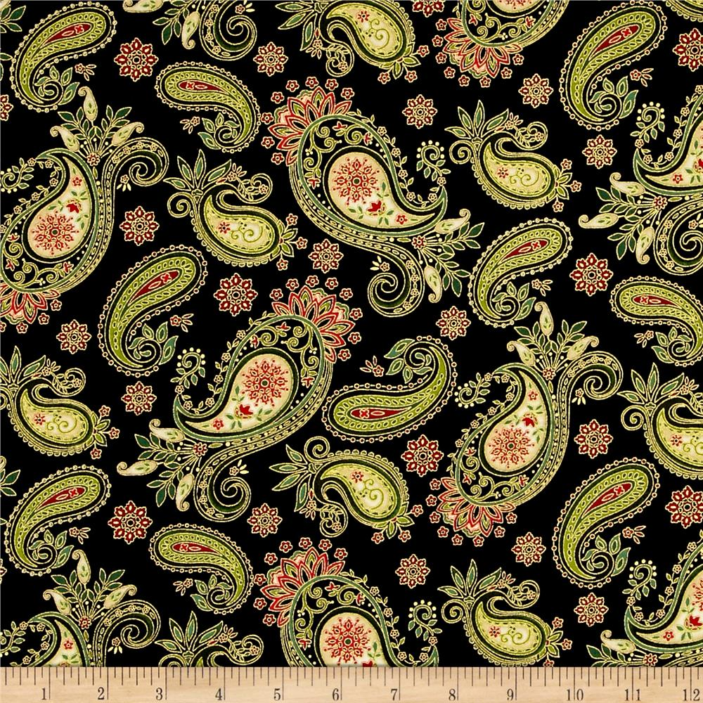 Winter Garden Metallic Paisley Black