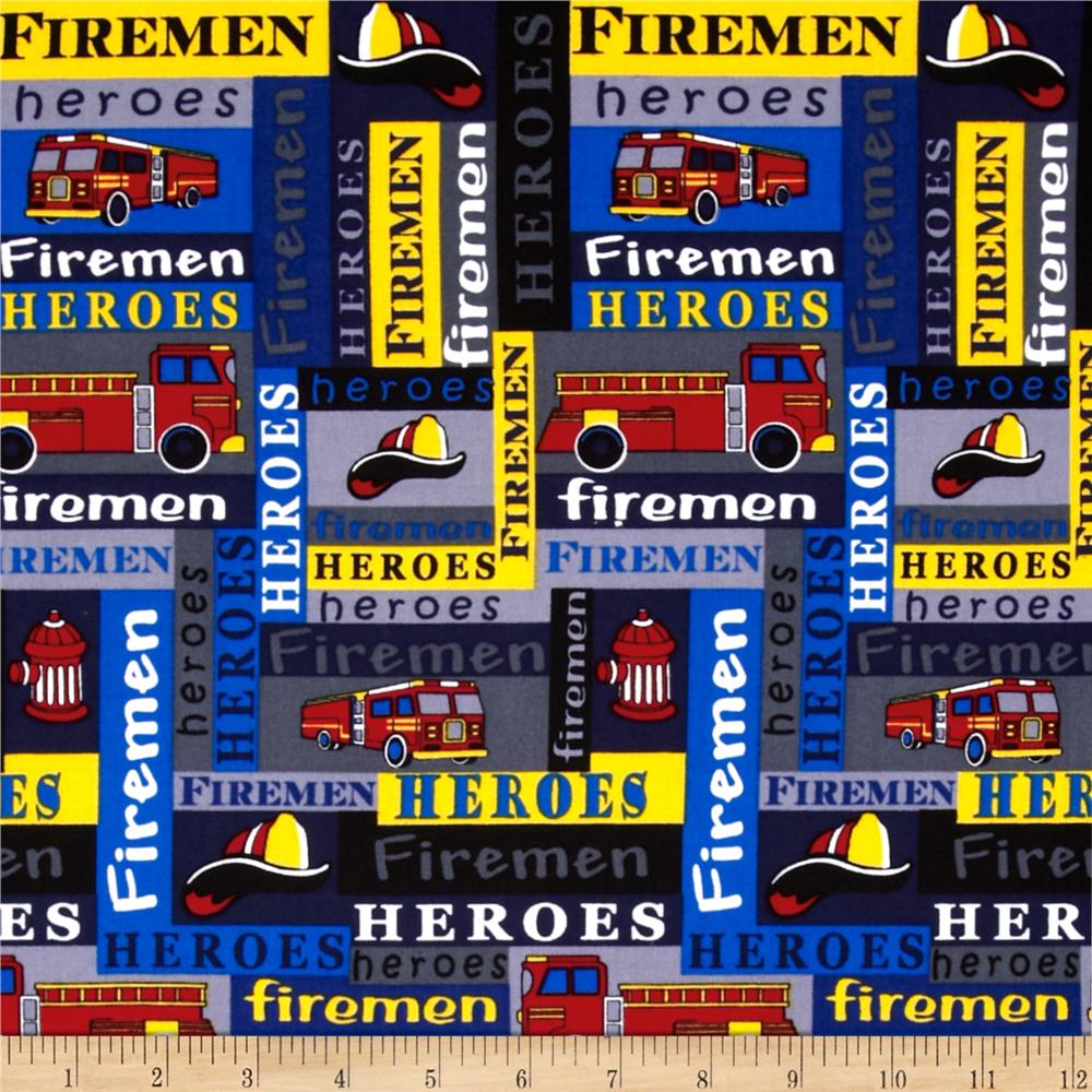 Firemen Trucks & Words Gray/Primary