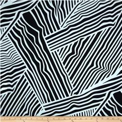 Spandex ITY Jersey Knit Abstract Lines Black/White