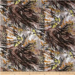 Jungle Safari Broadcloth Animal Maroon/Grey