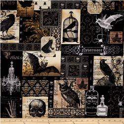 Michael Miller Nevermore Collection Nevermore Collage Urban Grit White