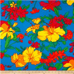 International Designer Cotton Pique Hibiscus Floral Turquoise/Multi