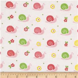 Alpine Flannel Snails Pink Fabric