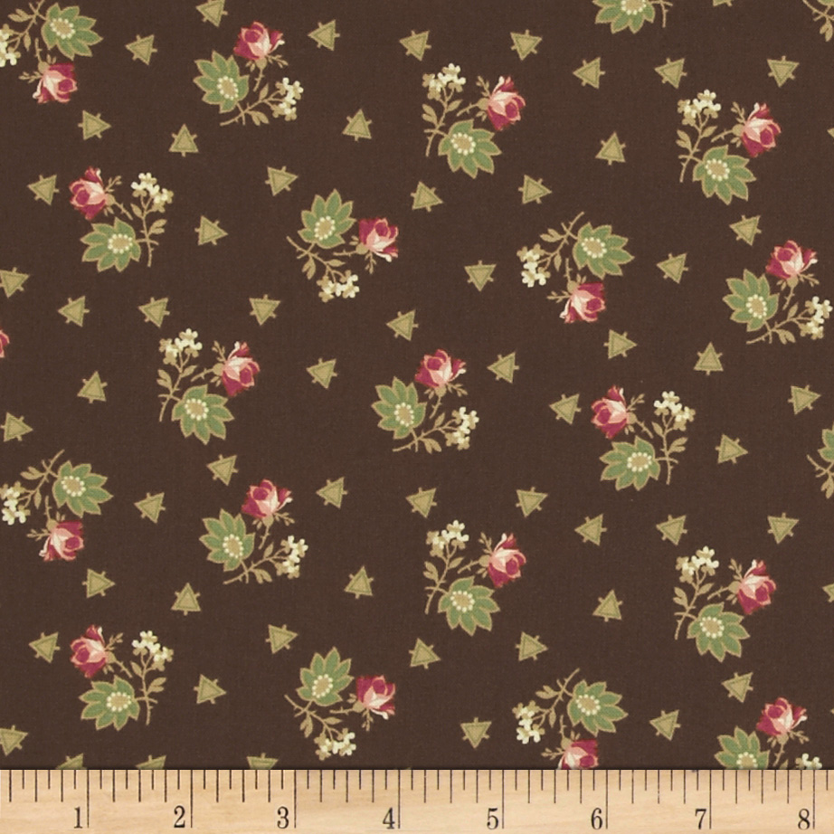 Romantic%20Olde%20Charleston%20Floral%20Cluster% 20%26%20Triangles%20Brown%20Fabric