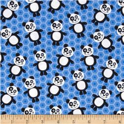 At the Zoo Tossed Pandas Blue