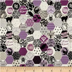 Riley Blake Happy Haunting Hexagon Purple