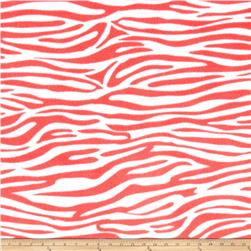 Zebra and Giraffe Zebra Fleece Coral