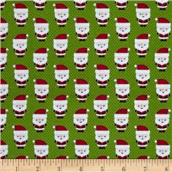 Riley Blake Santa Express Flannel Santa Claus Green