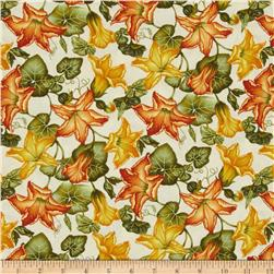 Welcome Harvest Pumpkin Flowers Cream