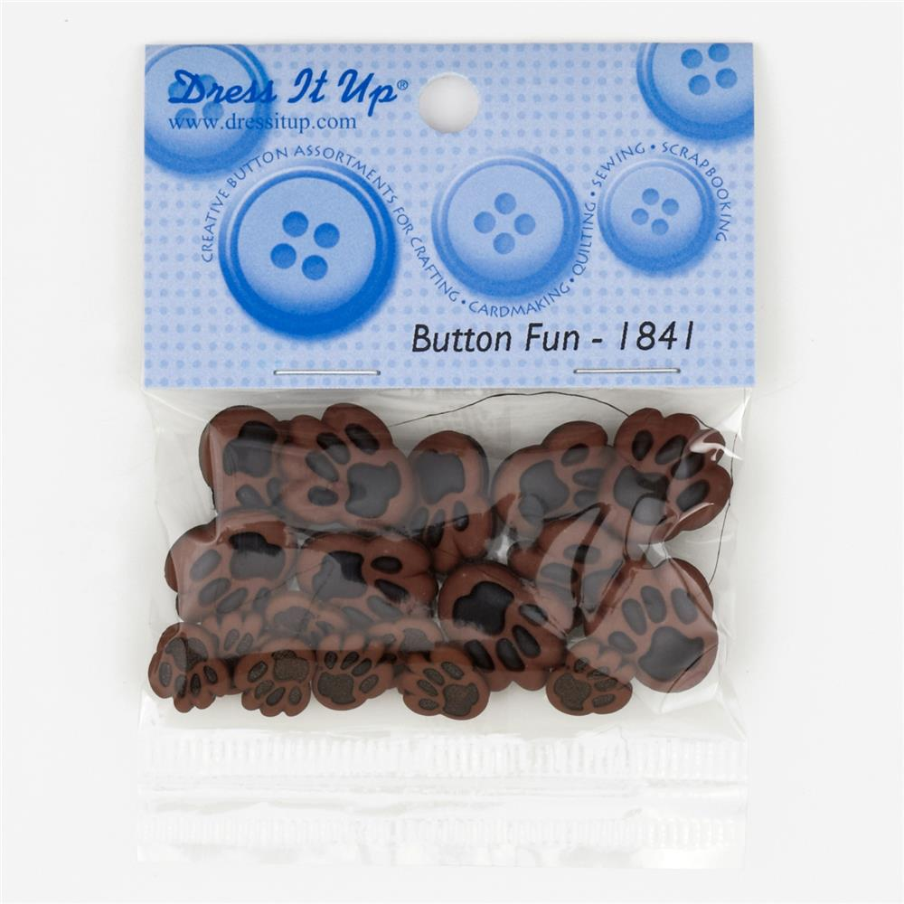 Dress It Up Embellisment Buttons  Dog Paws