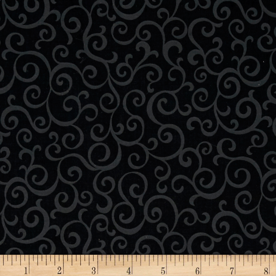 Marcus High Contrast Scroll Black Fabric by Marcus in USA