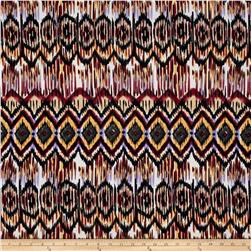 Cotton Lycra Jersey Knit Tribal Black/Olive/Maroon