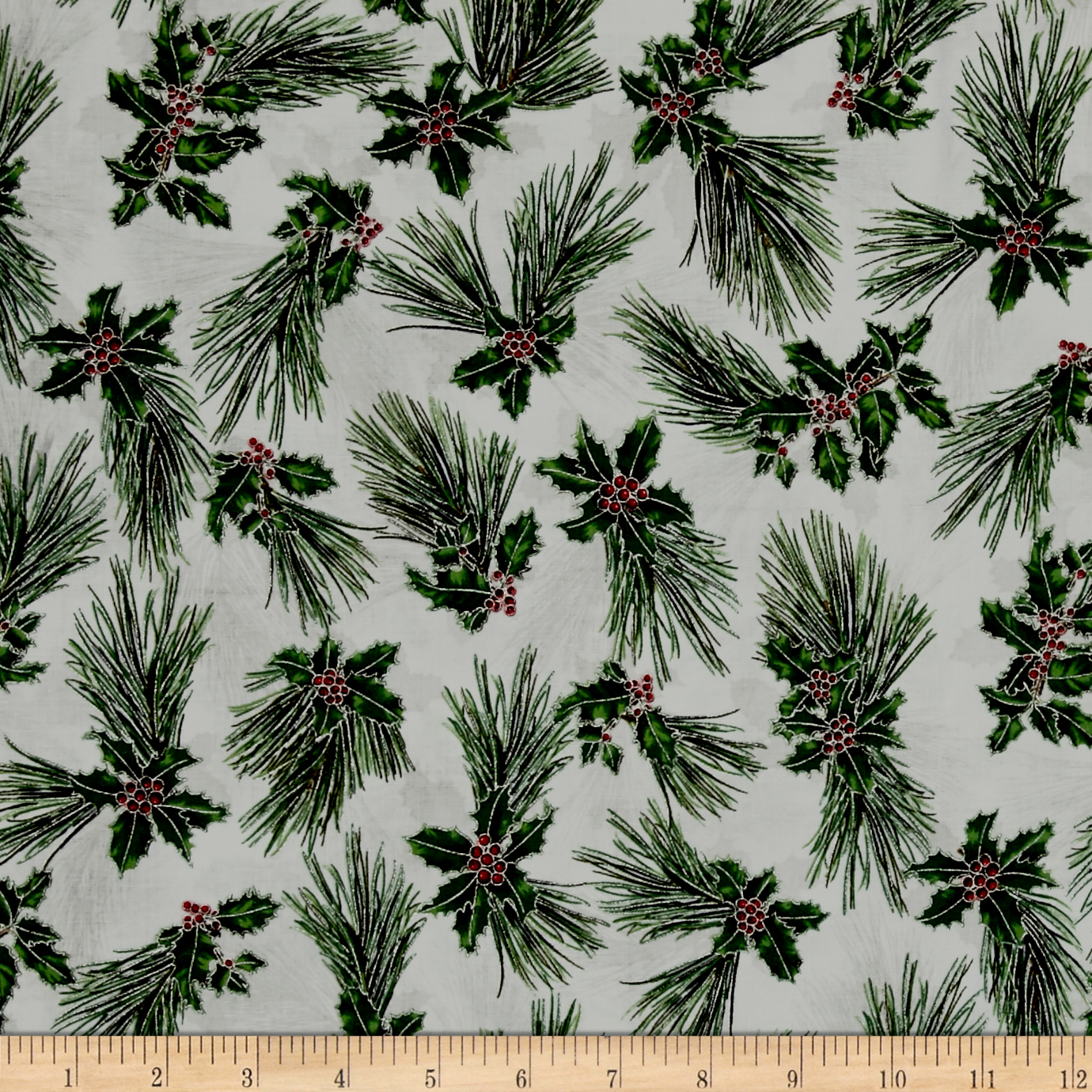 Suite Christmas Metallic Pretty Pine Icicle Fabric By The Yard