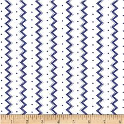 Dots and More Zig Zags & Dots White/Navy
