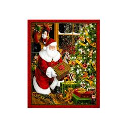 "Best Time Of The Year Metallic Santa & Christmas Tree 35"" Panel Red"