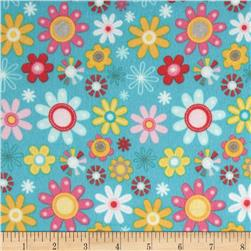 Riley Blake Girl Crazy Flannel Floral Blue Fabric