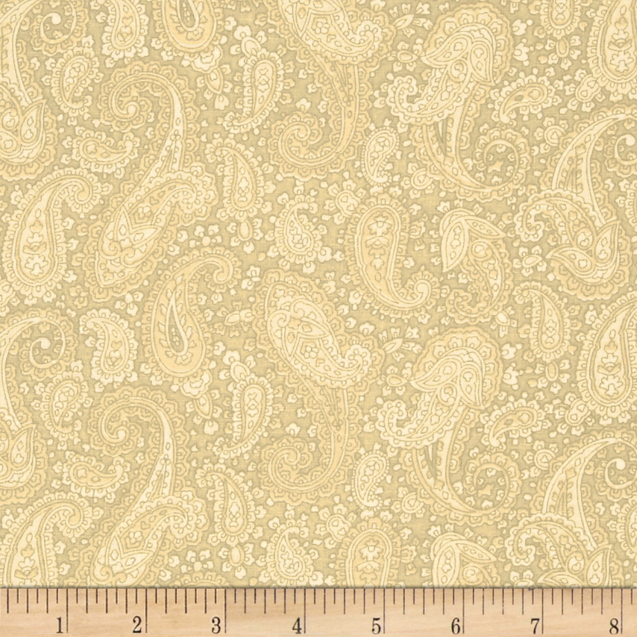 Baroque 108' Wide Quilt Backing Paisley Tan Fabric