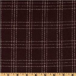 Crepe Wool Suiting Plaid Brown