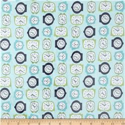 Riley Blake Gracie Girl Laminated Cotton Clocks Blue