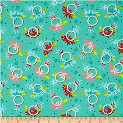 Girly Girl Rings Aqua Blue Fabric
