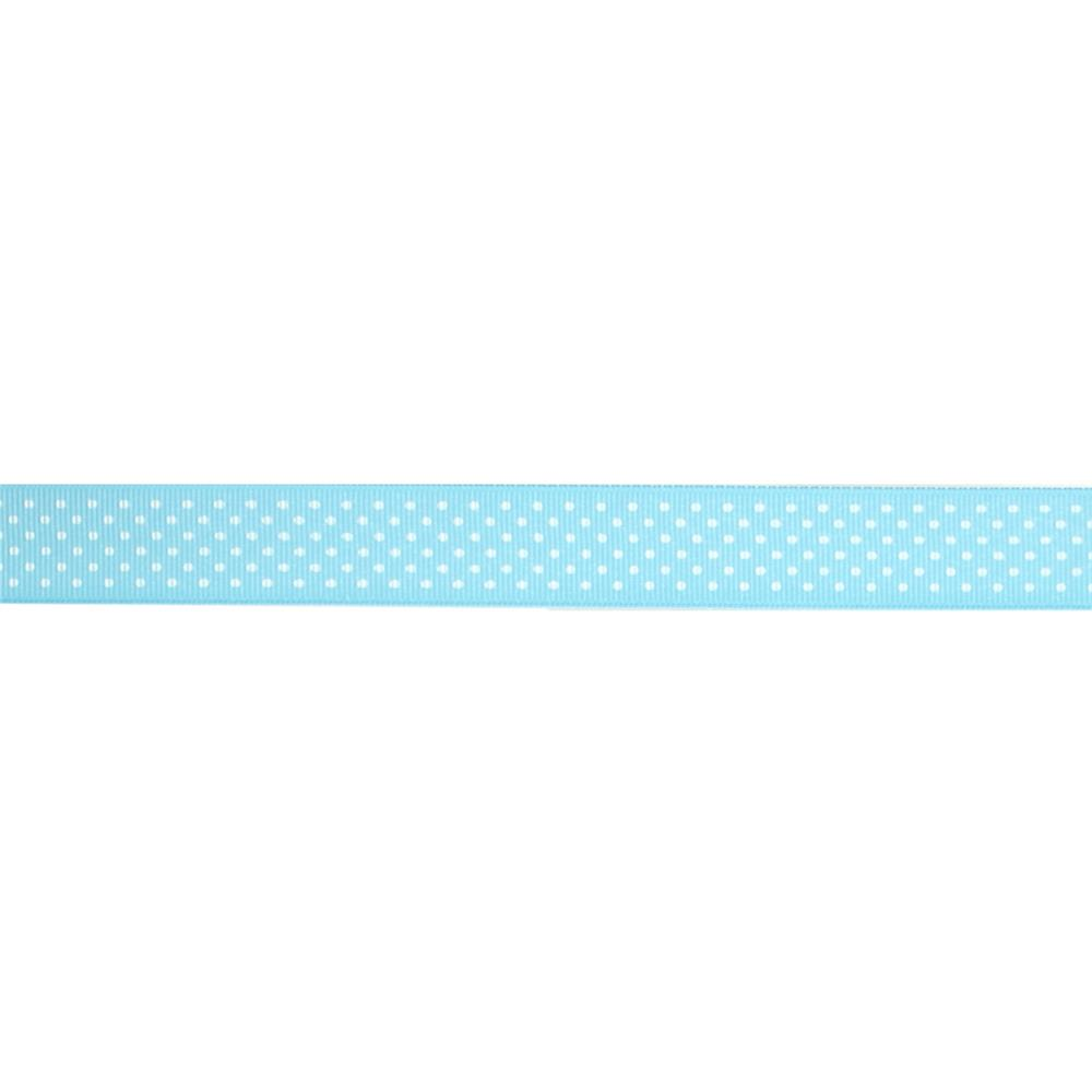 "7/8"" Grosgrain Swiss Dot Ribbon Ocean White"