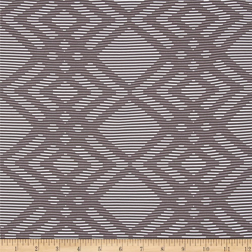 French Designer Texture Jersey Knit Geo Taupe/White