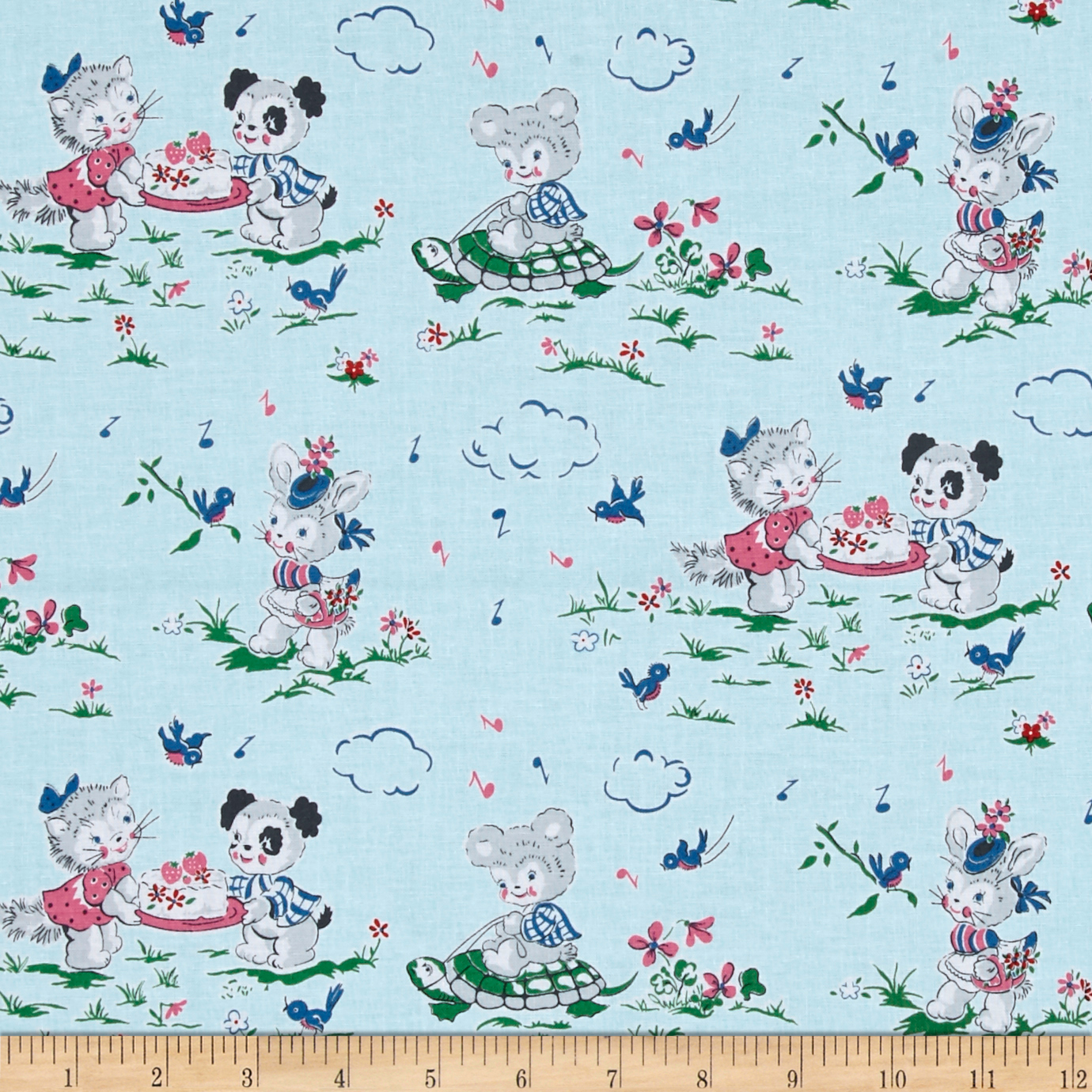 Penny Rose Strawberry Biscuit Playdate Blue Fabric by Christensen in USA