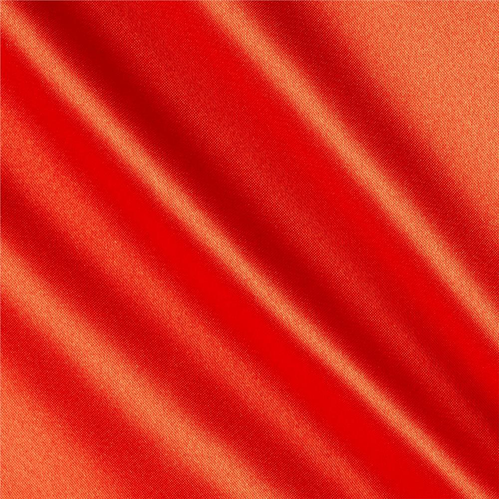 Silky satin charmeuse solid tangerine lush discount for Satin fabric