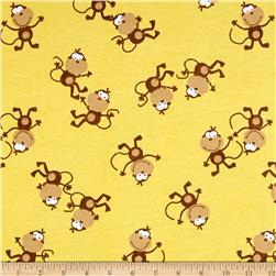 Comfy Flannel Jens Monkey Yellow
