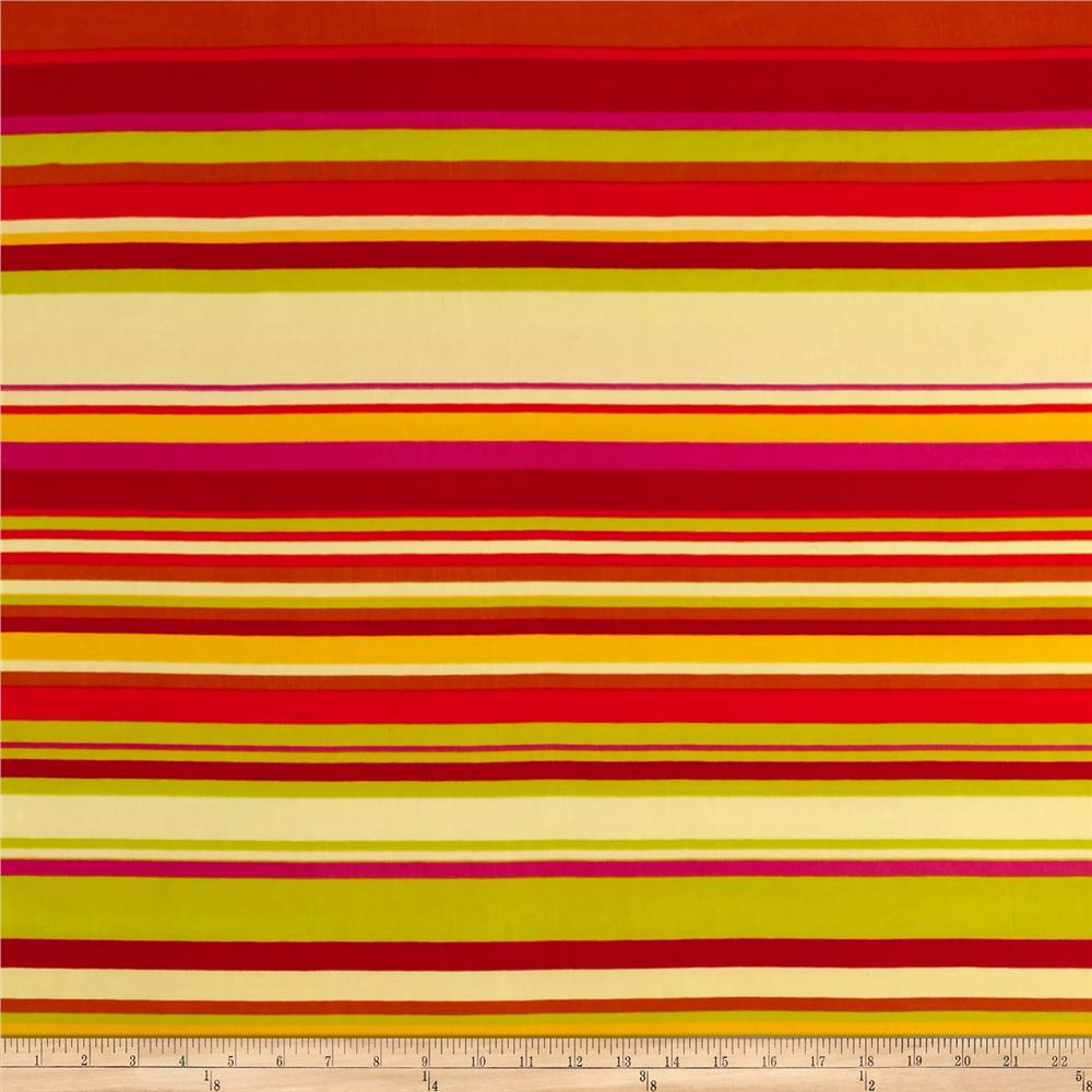 Stretch ITY Knit Stripes Red/Yellow